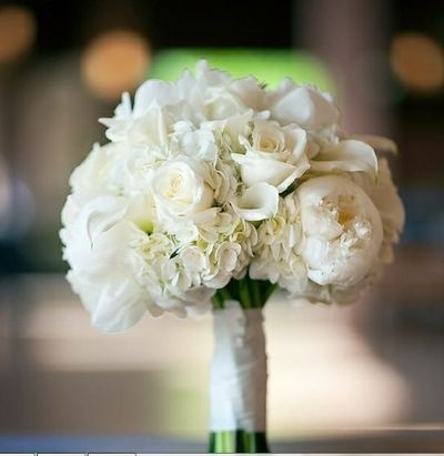 White peonies, roses, hydrangea, calla lilies