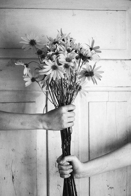give flowers black&white