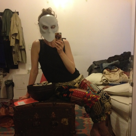 Uncovering my Sleep No More mask while cleaning my apartment