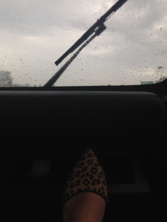 Rainy drive on the way to a fabulous fajita night.